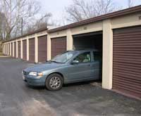 Photo of car in storage unit.